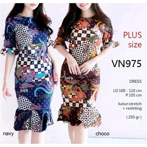 jual dress batik jumbo wanita modern dress batik big size