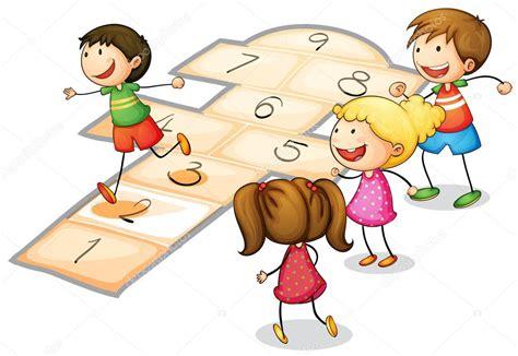 imagenes de niños jugando la rayuela ni 241 os jugando vector de stock 12385452 depositphotos