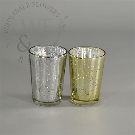 4 Glass Candle Holders by 3 2 Quot Mercury Glass Antique Finish Tapered Votive