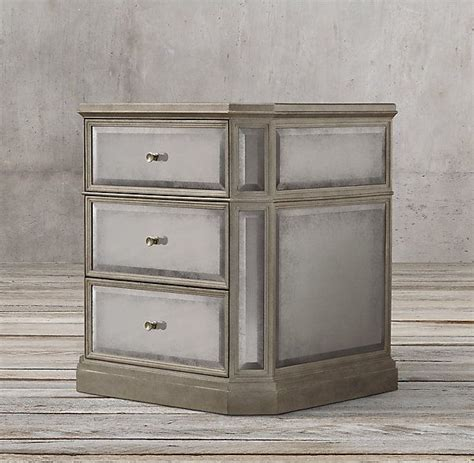 Antiqued Mirrored Nightstand by 1930s Mirrored 24 Quot Closed Nightstand Intd