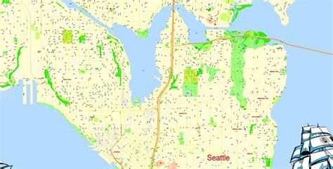 seattle map view seattle printable map wa us exact vector map g