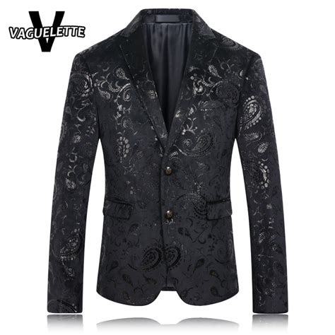 black jacquard pattern slim suit jacket black blazer men paisley floral pattern wedding suit