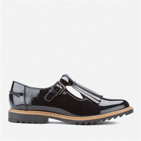 s t shoes clarks s griffin patent frill t bar shoes