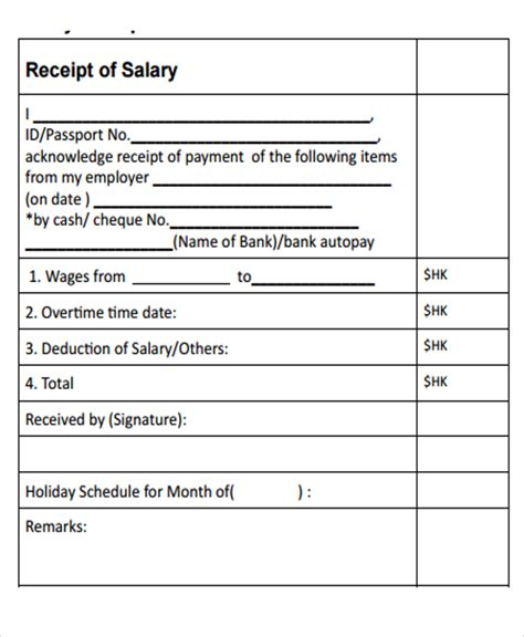 wage receipt template 15 salary receipt templates free sle exle format
