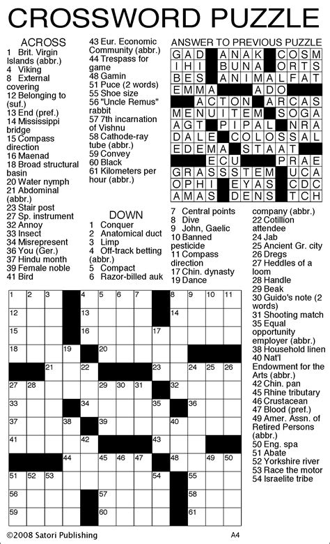 easy crossword puzzles with answer key sandoval signpost puzzles