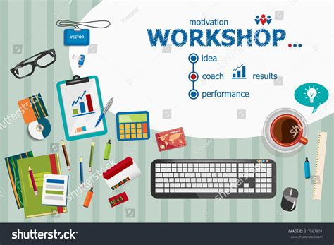 workshop layout planning and analysis workshop flat design illustration concepts business stock