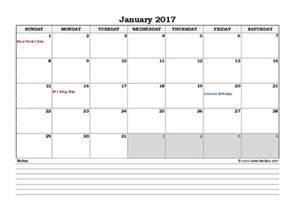calendar notes template 2017 excel monthly calendar with notes free printable