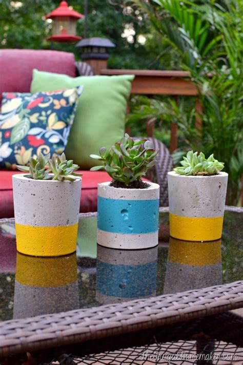 how to make cement planters diy painted concrete planters how to make your own