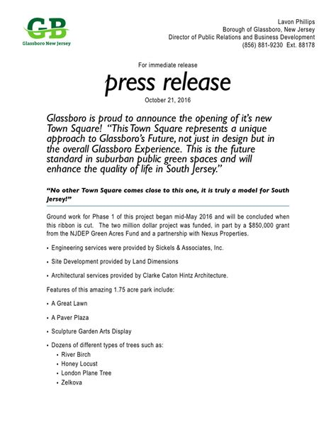 restaurant press release template glassboro is proud to announce the opening of it s new