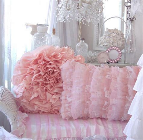 pink shabby chic bedding fluffy white ruffles pillow shabby romantic cottage chic