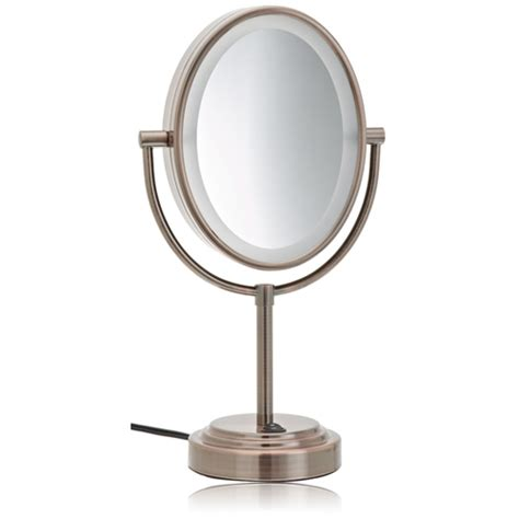 oval lighted makeup mirror conair be47br bronze 1x 7x lighted makeup mirror