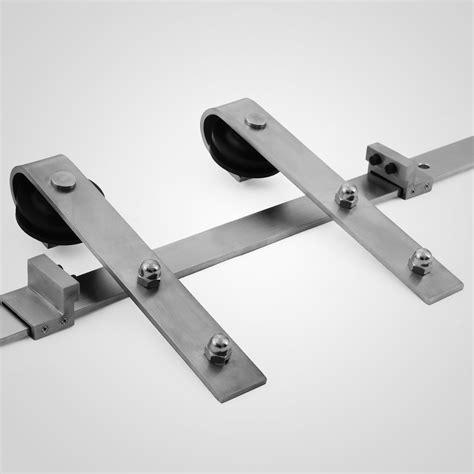 Stainless Steel Sliding Barn Door Hardware 8ft Sliding Barn Door Track Hardware Flat Stainless Steel Kit Strictly Standard Ebay