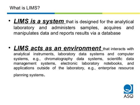 laboratory information management system wikipedia the lims asq pptx