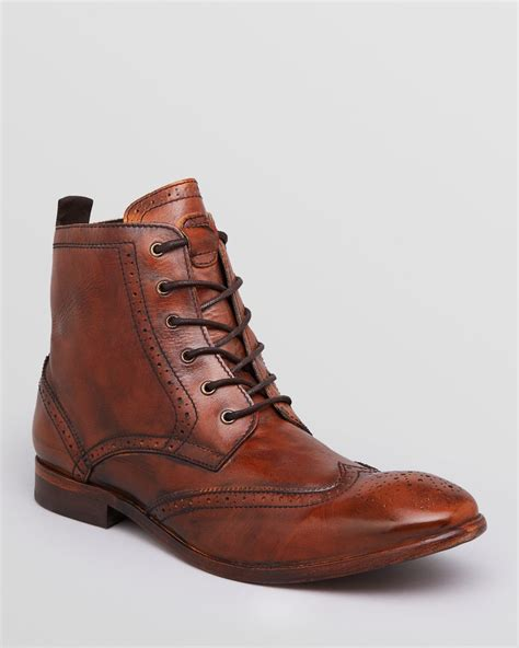 mens wingtip boots sale h by hudson h by hudson angus leather wingtip boots in