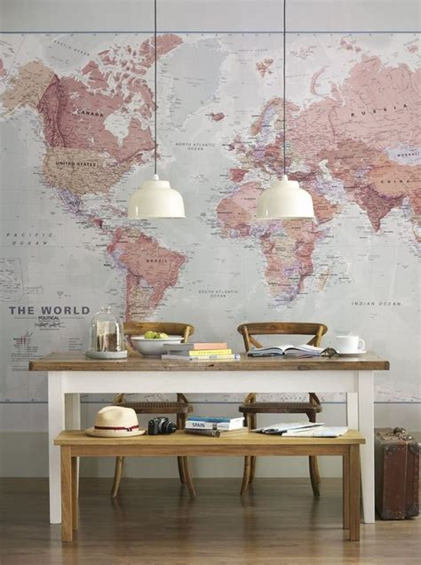 large world map dining room kitchen dining spaces