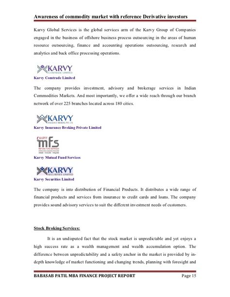 Comprehensive Project Report For Mba Finance by Awareness Of Commodity Market A Project Report On Mba Finance