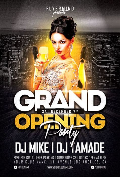 grand opening party flyer template freebie free party