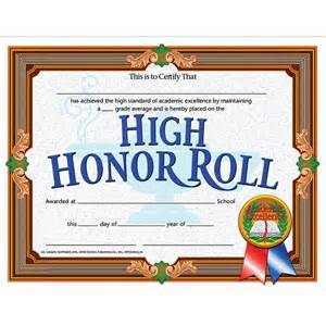 high honor roll achievement 30pk certificates h va686