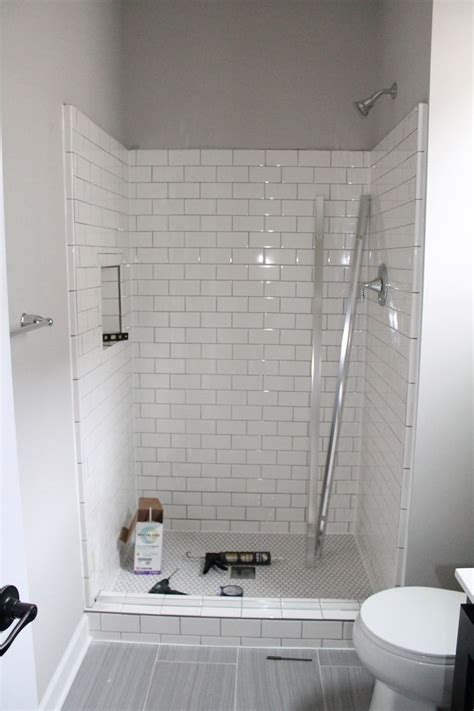 bathroom white subway tile home designs