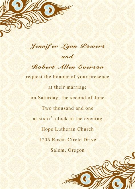 Wedding Invitations And Cards by Printable Peacock Wedding Invitations Ewi156 As Low As 0 94