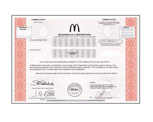 real share  mcdonalds corporation stock   minutes stock gifts  giveasharecom
