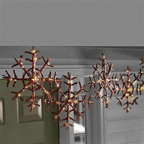 cordless rattan lighted snowflake garland