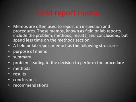 how to write a field report sles memo and its types