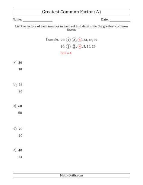 Greatest Common Factor Worksheets by Determining Greatest Common Factors Of Sets Of Two Numbers