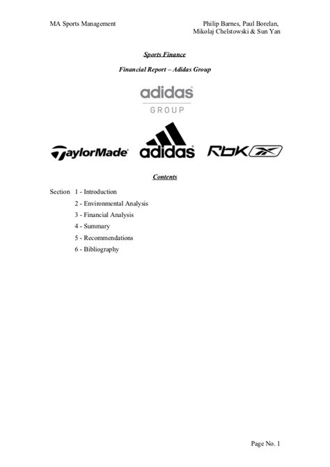 Adidas Uk Financial Report