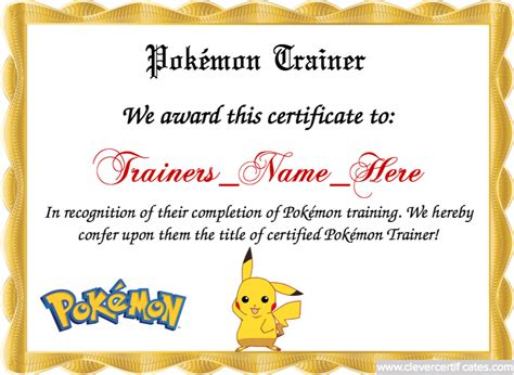 Pok 233 Mon Trainer Template Trainer Certificate Template