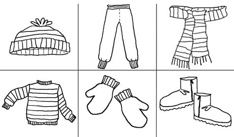 coloring page of winter clothes printables clothes google zoeken thema kleren