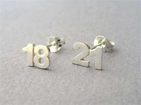 personalized numbers earrings two numbers studs