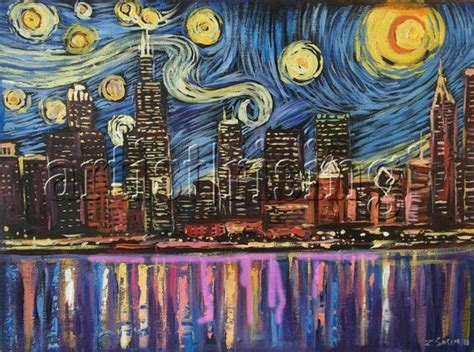 paint nite chicago chicago starry painting at artistrising