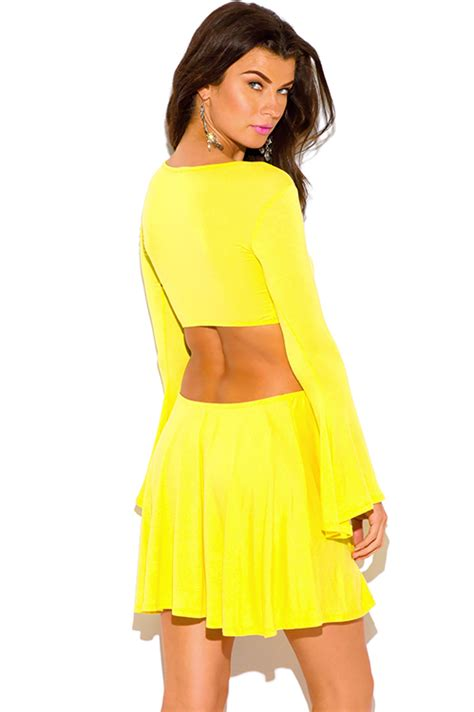 Shop Wholesale Womens Canary Yellow Crochet Cut Out