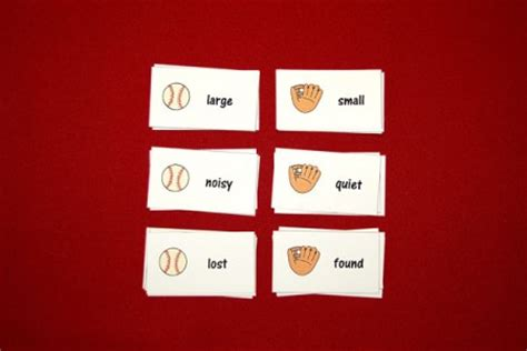 theme day synonym baseball theme antonym word cards speech therapy ideas
