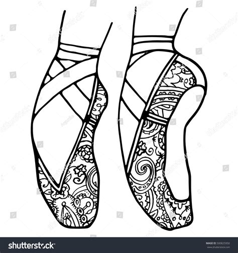 black and white ballet pointe shoes sketch pictures to pin