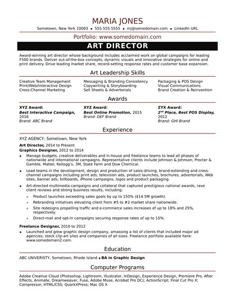 sle resume for a midlevel art director monster com