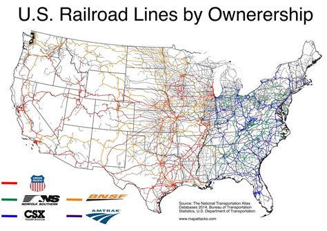 map of the united states railroads u s rail lines by ownership maps united states pinterest