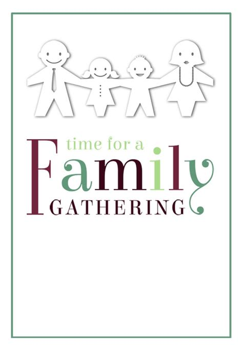 printable family reunion invitation cards time for a family gathering free printable family