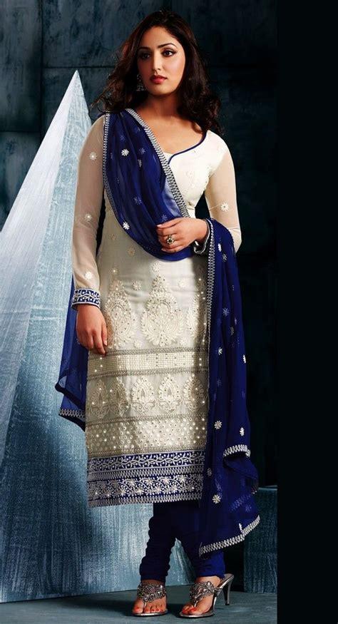 blue colour combination chutidars churidar neck designs women fashion quotient