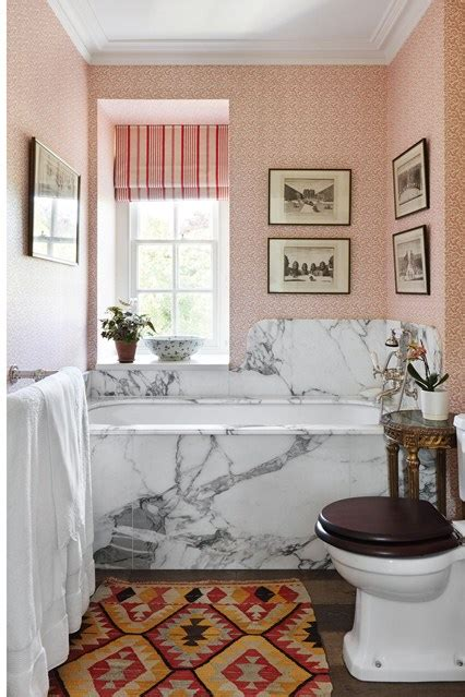 small bathroom wallpaper ideas marble bath surround pink wallpaper small bathroom