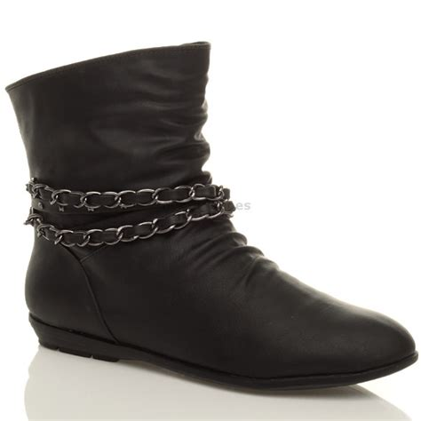womens black fancy dress flat buckle ankle pixie