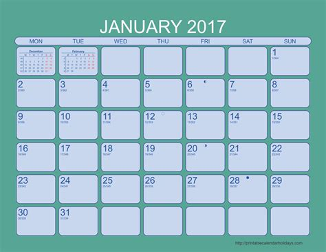 2017 Monthly Calendar With Holidays 2016 Printable Monthly Calendar Template Search Results