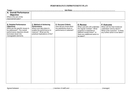 performance improvement project template professional performance improvement plan template