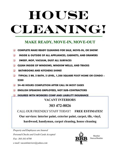 templates for house cleaning flyers 9 best images of cleaning services flyer templates free