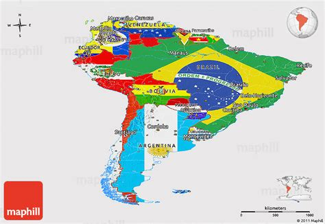 south america map and flags flag panoramic map of south america