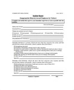 Behaviour Report Template by Sle Employee Incident Report Template 10 Free