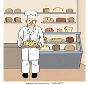 Clipart Image Of Baker With Fresh Round Loaf In His Bakery