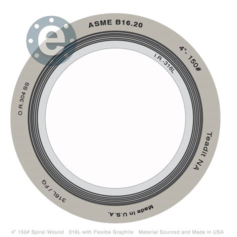 Gasket Spiral Wound spiral wound with 316l ir and or 316 ss fg 150 lb