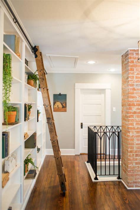 adding  sliding ladder   bookcase fixer upper